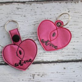 Eat Me Heart, Snap Tab, Eyelet Keyfob, Embroidery Design, Digital File