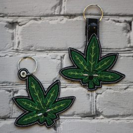 Kawaii Cannabis Leaf, FILLED, Snap Tab, Eyelet Keyfob, Embroidery Design, Digital File