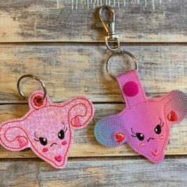 Angry Uterus Keyfobs, Snap Tab, Eyelet Keyfob, Embroidery Design, Digital File