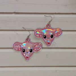 Kawaii Uterus Earrings, ITH, In the hoop, Embroidery Design, Digital File