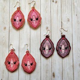 Kawaii Vag Earrings, ITH, In the hoop, Embroidery Design, Digital File