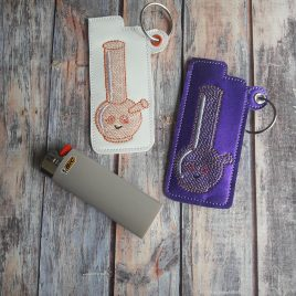 Kawaii Bong, Lighter Holder, Eyelet Keyfob, Embroidery Design, Digital File