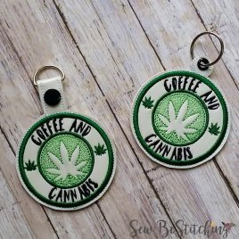 Coffee and Cannabis Keyfobs, Snap Tab, Eyelet Keyfob, Embroidery Design, Digital File