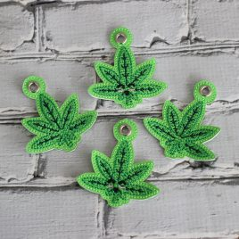 Kawaii Marijuana Leaf, Zipper Pull, Eyelet Keyfob, Embroidery Design, Digital File