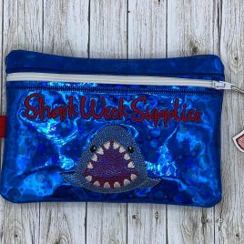 Shark Week Supplies, Zipper Bag, 5×7, 6×10 ONLY, Bonus Zipper Pull INCLUDED, Embroidery Design, Digital File