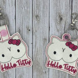 Hello Titty Keyfobs, Snap Tab, Eyelet Keyfob, Embroidery Design, Digital File