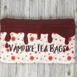 Vampire Tea Bags, Zipper Bag, 5×7, 6×10 ONLY, Bonus Zipper Pull INCLUDED, Embroidery Design, Digital File