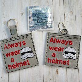 Always Wear A Helmet Condom Case, Snap Tab, Eyelet Keyfob, Pecker Pouch, Embroidery Design, Digital File