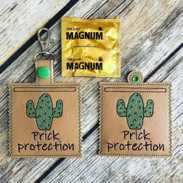 Prick Protection Condom Case, Snap Tab, Eyelet Keyfob, Pecker Pouch, Embroidery Design, Digital File