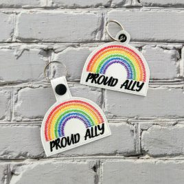 Proud Ally Keyfobs, Snap Tab, Eyelet Keyfob, Embroidery Design, Digital File