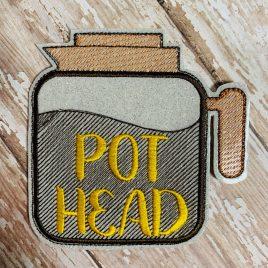 Pot Head Coffee, Coaster, Embroidery Design, Digital File