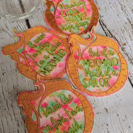 Mermaid Coaster SET, Set of 4, Embroidery Design, Digital File