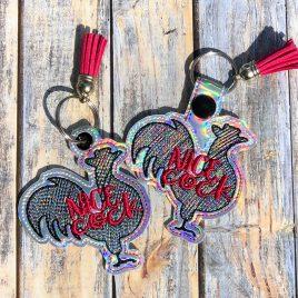 Nice Cock, Keyfobs, Snap Tab, Eyelet Keyfob, Embroidery Design, Digital File