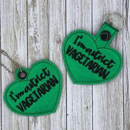 Strict Vagetarian, Keyfobs, Snap Tab, Eyelet Keyfob, Embroidery Design, Digital File