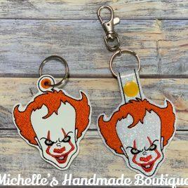 Horror Clown, Keyfobs, Snap Tab, Eyelet Keyfob, Embroidery Design, Digital File