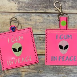 Cum In Peace Condom Case, Snap Tab, Eyelet Keyfob, Pecker Pouch, Embroidery Design, Digital File
