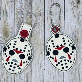Horror Hockey Mask, Keyfobs, Snap Tab, Eyelet Keyfob, Embroidery Design, Digital File