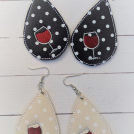 Wine Glass Teardrop Earrings, 2 SIZE, 2inch, ITH, In the hoop, Embroidery Design, Digital File