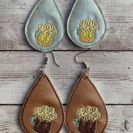 Beer Mug Teardrop Earrings, 2 SIZE, 2inch, ITH, In the hoop, Embroidery Design, Digital File