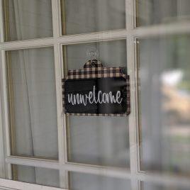 Unwelcome, Door Hanger, 3 Sizes In the Hoop, Embroidery Design, Digital File