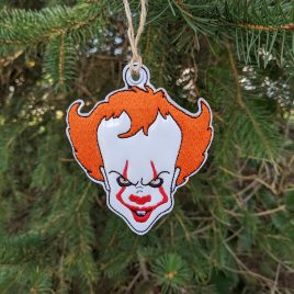 Pennywise, Ornament, In the Hoop, Embroidery Design, Digital File