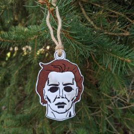 Mikey Myers Mask, Ornament, In the Hoop, Embroidery Design, Digital File