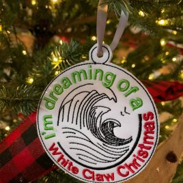 Dreaming of a White Claw Christmas, Ornament, In the Hoop, Embroidery Design, Digital File
