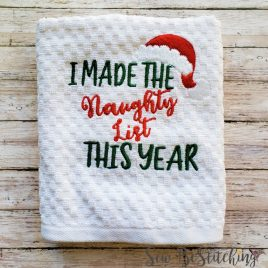 I Made The Naughty List, Towel Design, Washcloth, Embroidery Design, Digital File