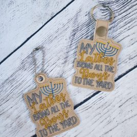 Latkes Bring Boys Keyfobs, Snap Tab, Eyelet Keyfob, Embroidery Design, Digital File