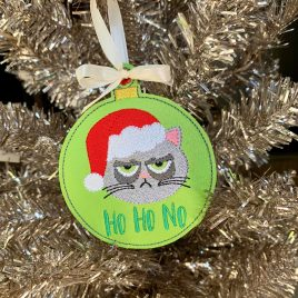 Grouchy Cat Ho Ho No, Ornament, In the Hoop, Embroidery Design, Digital File
