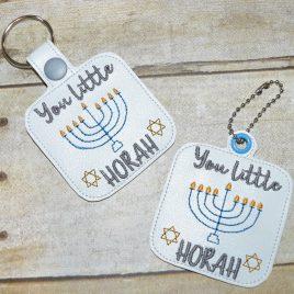 You Little Horah Keyfobs, Snap Tab, Eyelet Keyfob, Embroidery Design, Digital File