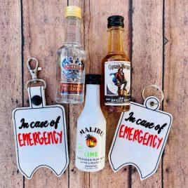 In Case of Emergency Mini Liquor Bottle Case, Snap Tab, Eyelet Keyfob, Embroidery Design, Digital File
