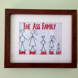 Ass Family, 4 Sizes, Embroidery Design, Digital File
