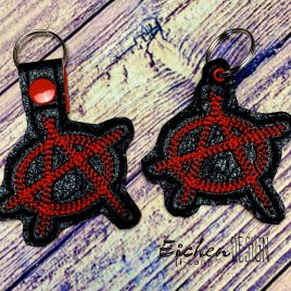 Anarchy, Keyfobs, Snap Tab, Eyelet Keyfob, Embroidery Design, Digital File