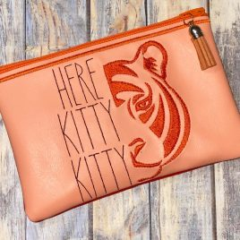 Here Kitty Kitty, Top Zipper Bag, 4×4, 5×7, 6×10, Embroidery Design, Digital File