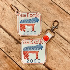 Joe Exotic 2020 Keyfobs, Snap Tab, Eyelet Keyfob, Embroidery Design, Digital File