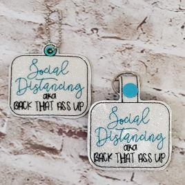 Social Distancing Keyfobs, Snap Tab, Eyelet Keyfob, Embroidery Design, Digital File
