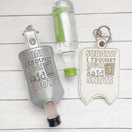 Squats or Shots Mini Liquor Bottle Case, Snap Tab, Eyelet Keyfob, Embroidery Design, Digital File