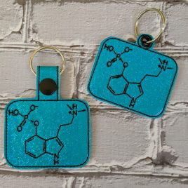 Chemical Psilocybin, Snap Tab, Eyelet Keyfob, Embroidery Design, Digital File