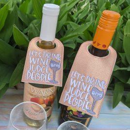 Judge People Wine Bottle Tag, Wine Bottle Gift, Embroidery Design, Digital File