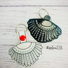 RBG Dissent Necklace, Snap Tab, Eyelet Keyfob, Embroidery Design, Digital File