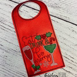 Eat Drink Merry Bottle Tag, Wine Bottle Gift, Embroidery Design, Digital File
