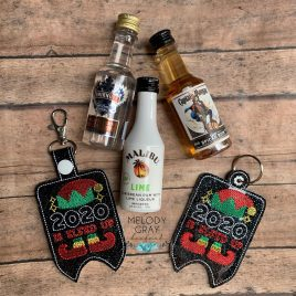 2020 Elfed Up Mini Liquor Bottle Case, Snap Tab, Eyelet Keyfob, Embroidery Design, Digital File