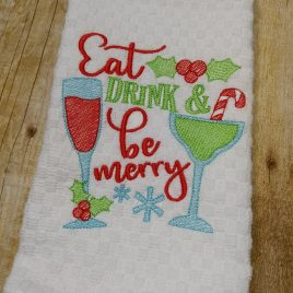 Eat Drink Merry, Sketch, Embroidery Design, Digital File