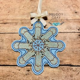 DickFlake, Snowflake, Ornament, In the Hoop, Embroidery Design, Digital File
