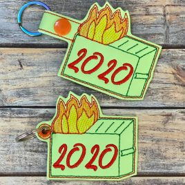 2020 Dumpster Fire, Snap Tab, Eyelet Keyfob, Embroidery Design, Digital File