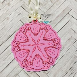 Uterus Snowflake, Ornament, In the Hoop, Embroidery Design, Digital File