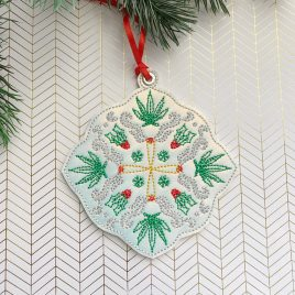 Cannabis Flake, Ornament, In the Hoop, Embroidery Design, Digital File