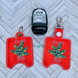 Merry Juana Hand Sanitizer Holder, Snap Tab, Eyelet Keyfob, Embroidery Design, Digital File