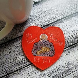 My Heart Berns for You, Coaster, Embroidery Design, Digital File